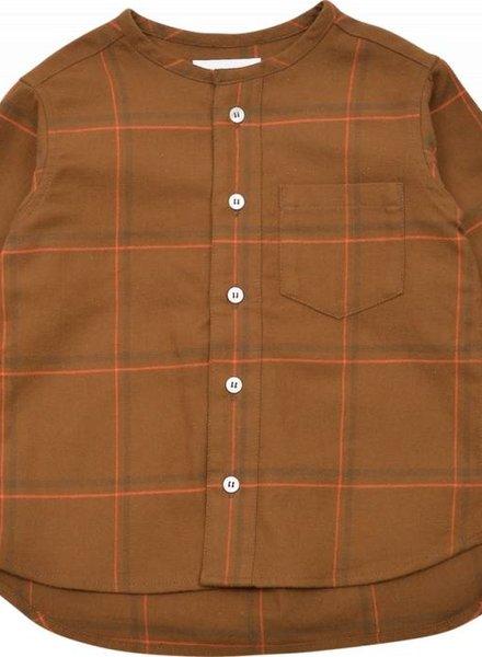 East End Highlanders Collarless Shirt Brown / Orange plaid