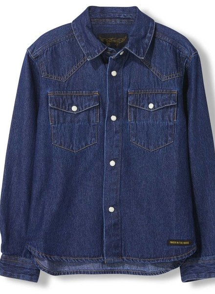 Finger in the nose Dusk blue denim long sleeve shirt
