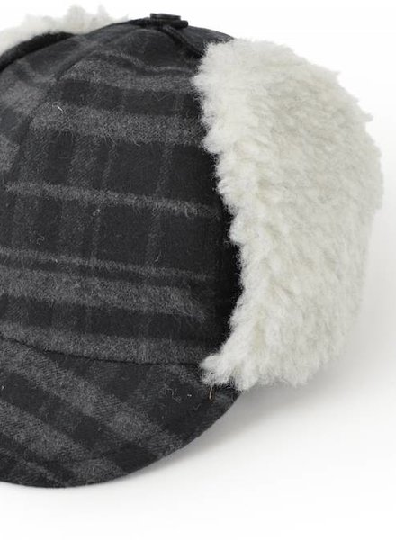 East End Highlanders Flight Cap Black / Grey Plaid