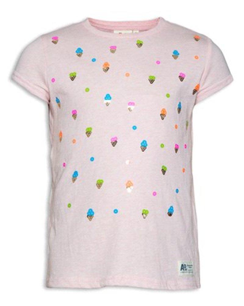 AO76 roze T-shirt korte mouwen met ijsjes print