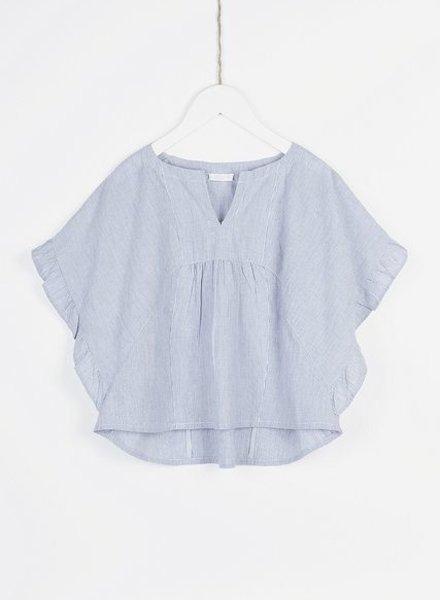 BY-BAR Shirt  ruffle pin stripe blue