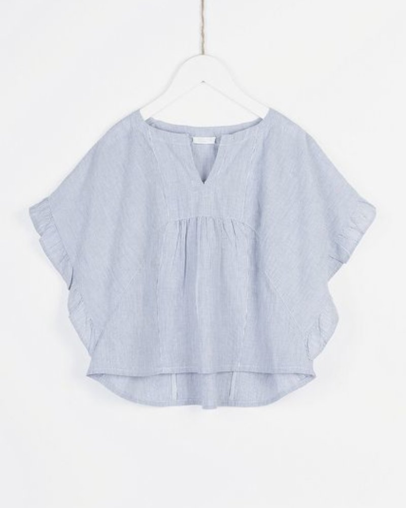 ddccd7b7d4a747 BY-BAR hemd ruffle blouse pin stripe blue - Odille & Octaaf