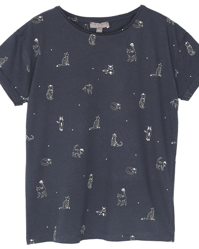 Emile et Ida Emile et Ida T-shirt Tee Shirt bitume miaou O339B
