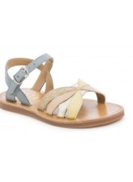 Sandals Pom D'Api Plagette Reverse Smooth / Glitter Gris / Sun Dore