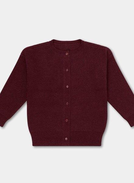 Repose AMS cardigan knitted rib cardigan rosewood red
