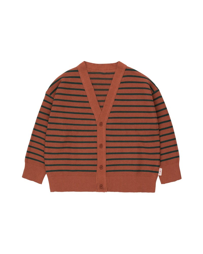Tiny Cottons Tinycottons cardigan SMALL STRIPES Cardigan dark brown / bottle green