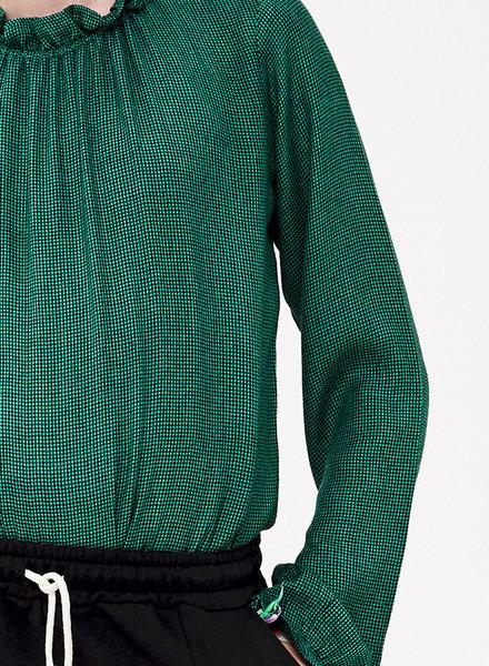 BY-BAR Klavergroene blouse met ruitje