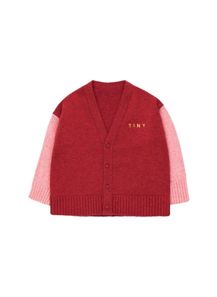 Tiny Cottons cardigan burgundy / pale pink