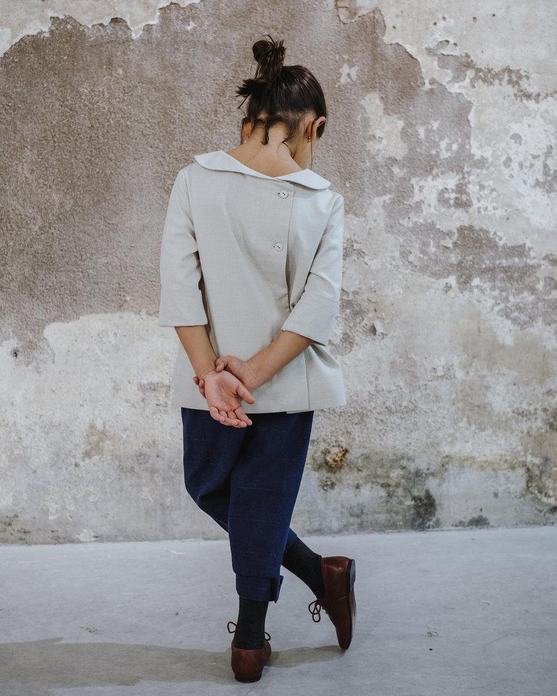 Annice Ivoorkleurig blouse peter pan