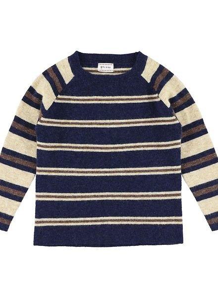 Morley Sweater knit krown calm navy blue/beige