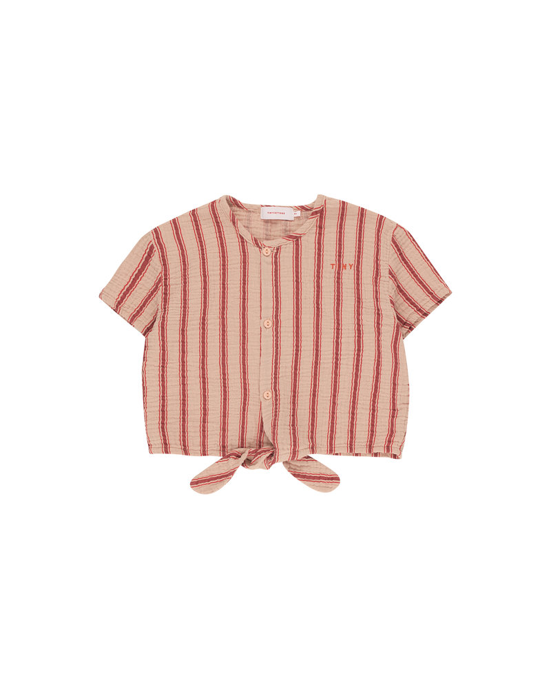 Tinycottons Tinycottons top Retro Stripes Tie Front Top light nude / dark brown