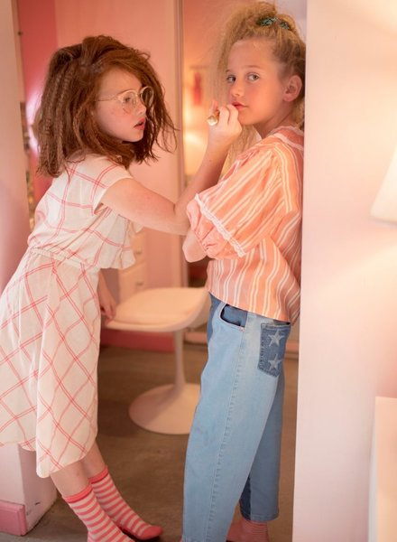 Fish & Kids zomerjurk Checks dress pink