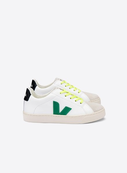 Veja VEJA schoenen Small esplar LACE leather extra-white EMERAUDE JAUNE FLUO