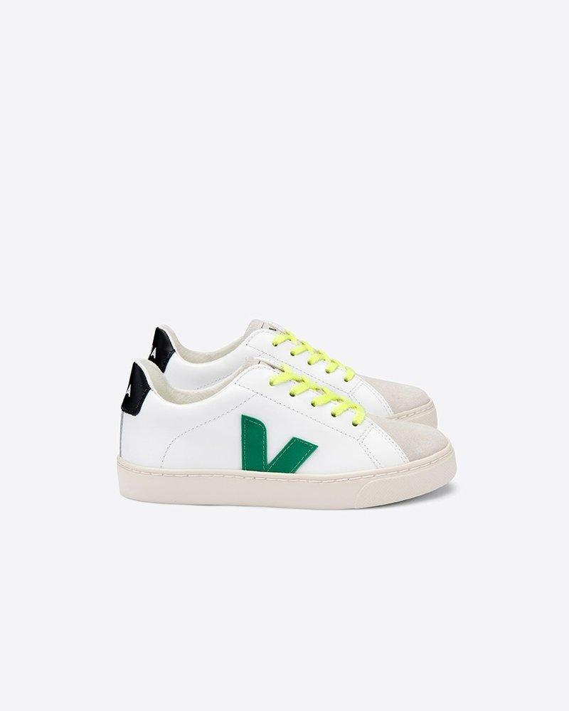 Veja VEJA schoenen Small esplar LACE leather extra-white EMERAUDE JAUNE FLUO