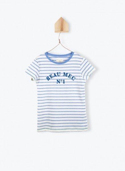 Arsène et les Pipelettes Arsène et les Pipelettes T-shirt rayé brodé ocean