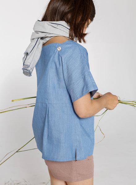 Annice Hemd Square neckline blouse cotton denim