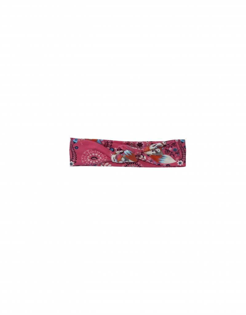 Haarband knoop van sweatstof in perzik roze met schattige vosjes