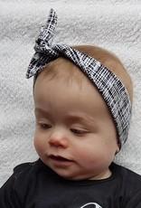 Haarband om zelf te strikken, zwartwit gestreept
