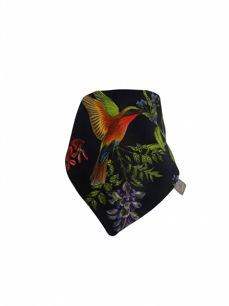 Zwarte slab bandana met bloemen en vogels
