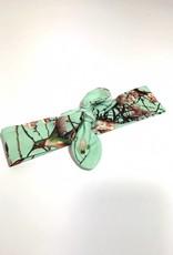 Mint haarband strik met Japanse vogel/bloem print