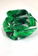 Groen-witte colsjaal met bladmotief