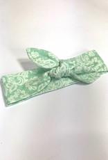 Mint haarband strik met kantdessin