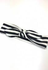 Zwart witte haarband strik met streepdessin