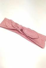 Rood-witte haarband strik met streep print