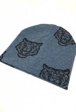 Newbor mutsje jeansblauw met tijgerprint