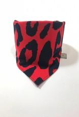 Rode  slab bandana met luipaardprint