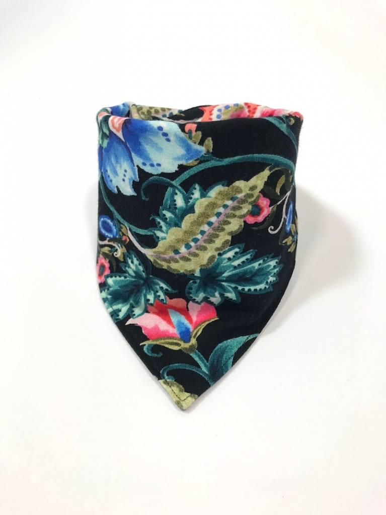 Zwarte  slab bandana met kleurrijke bloemen