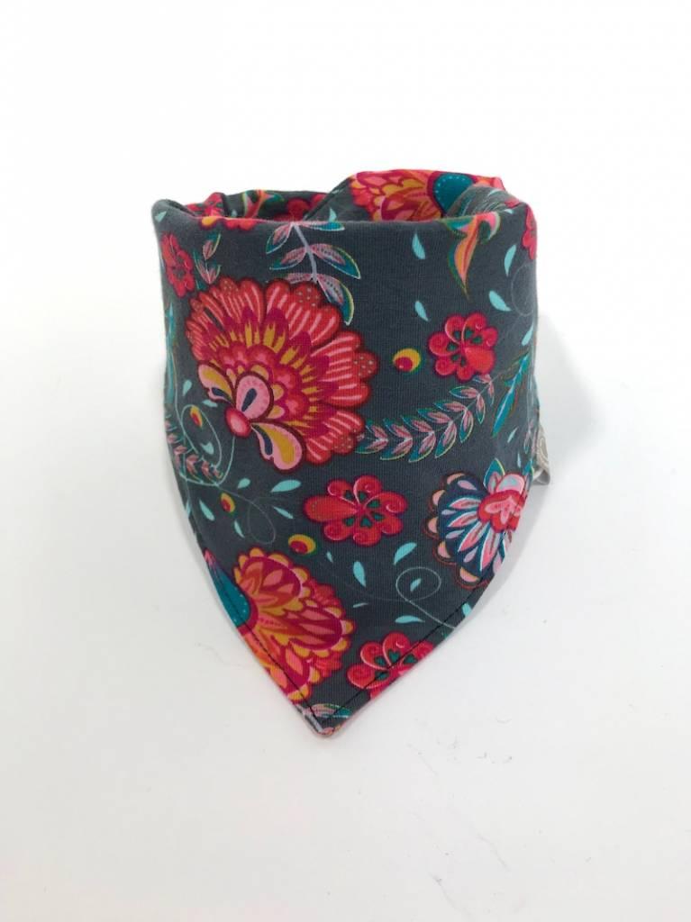 Grijze lab bandana sjaal met bloemenprint