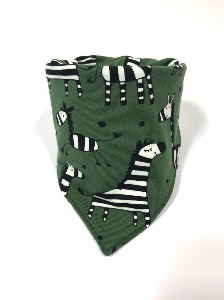 Legergroene slab bandana met zebra's
