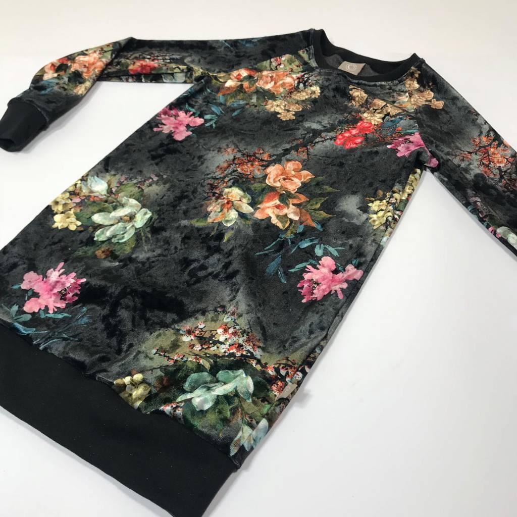 Sweater Dress van fluwelen stof met bloemen