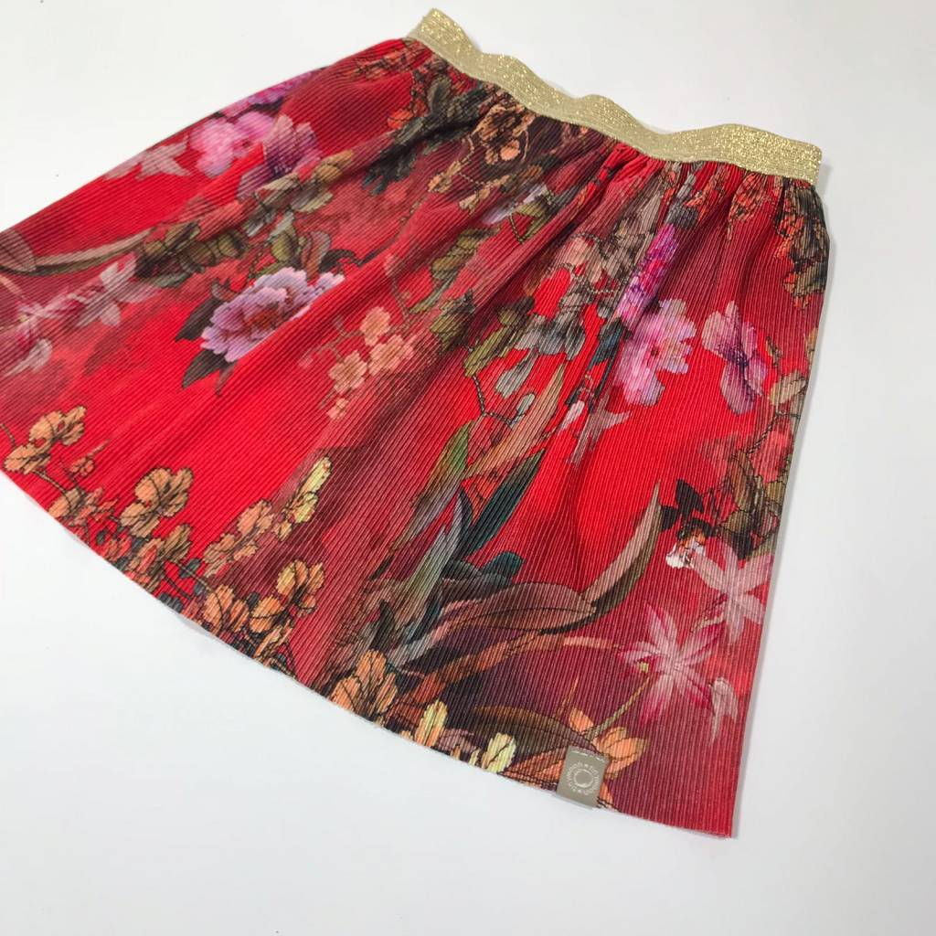 Rok van plissé stof met Japanse bloemenprint