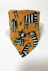 Okergele slab bandana met de leukste zebra's