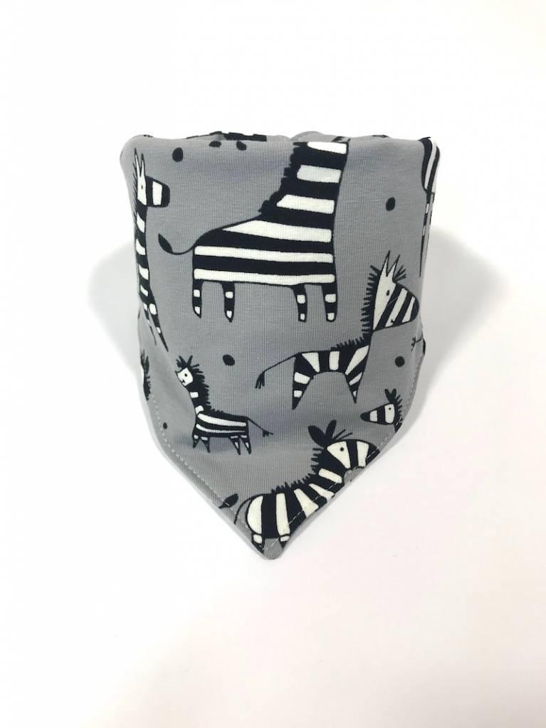 Grijze slab bandana sjaal met zebra's