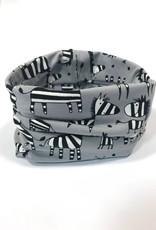 Grijze colsjaal met de leukste zebra's