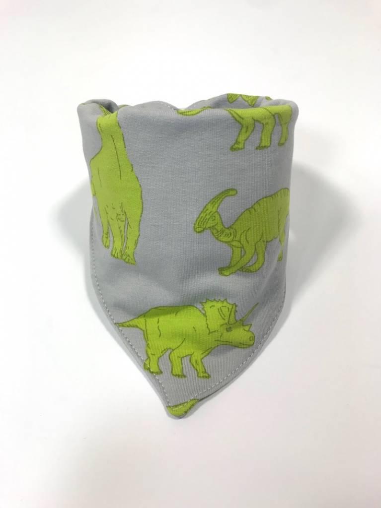 Grijze slab bandana sjaal met groene dino's