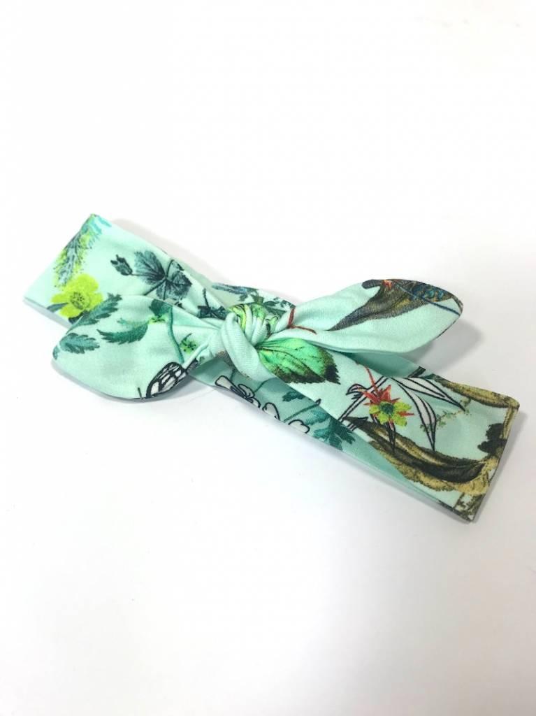 Mint haarband strik met bloemprint