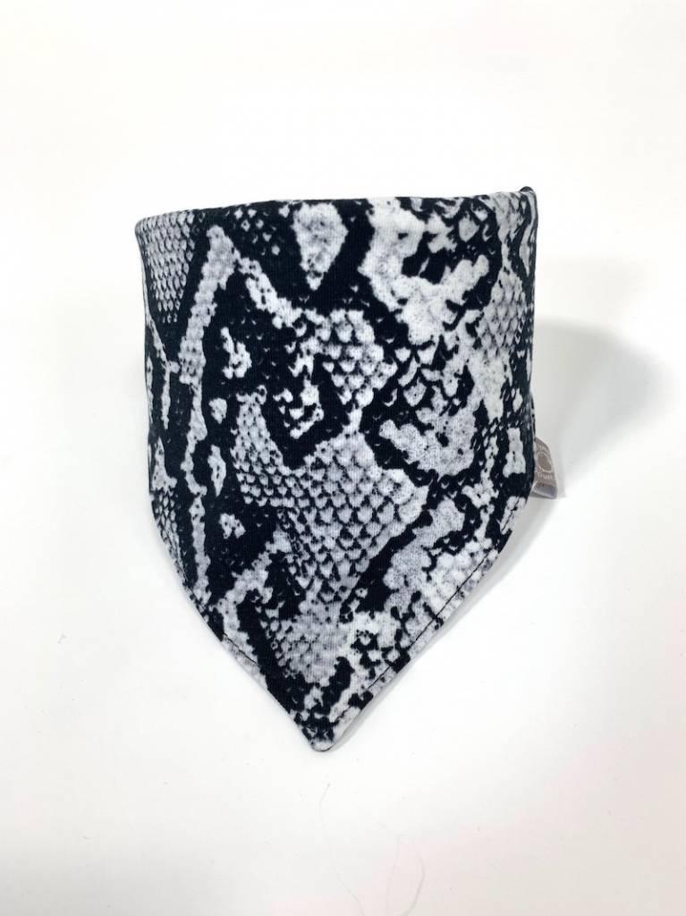 Grijze slab bandana sjaal met slangenprint