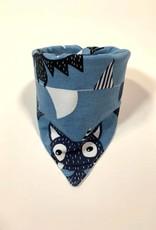 Blauwe slab bandana met vleermuizen