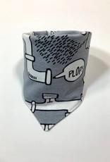 Grijze slab bandana sjaal met leidingen