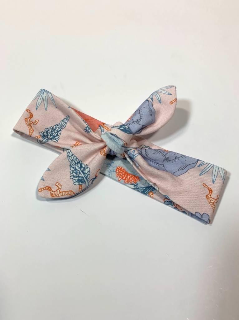 Roze haarband strik met Oosterse bloemen/vogelprint
