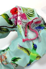Harembroekje in mint met oosterse bloemenprint