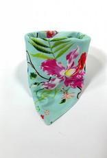 Mint slab bandana met bloemenmotief