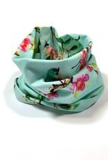 Mint gekleurde colsjaal met bloesem print