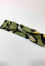 Groene haarband strik met luipaard print