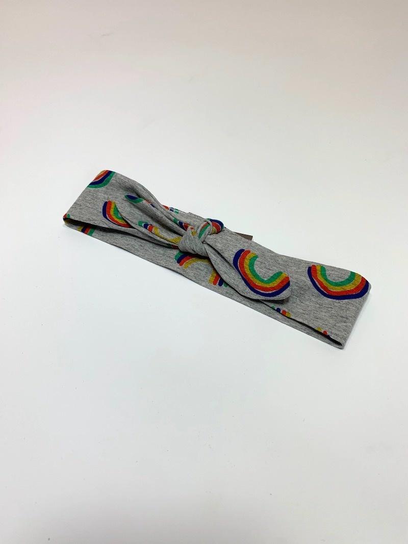 Grijze haarband strik met regenboogprint