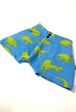 Folded closure short in blauw met groene dino's